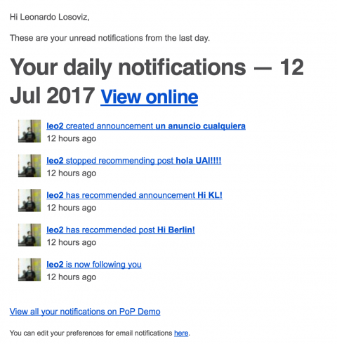 Digest with personal notifications, sent daily to the users